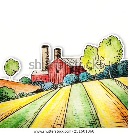 Farm on countryside with golden field. Hand drawn watercolor pencils traditional illustration. - stock photo