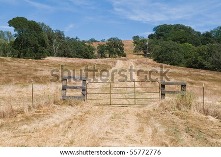 Farm road and gate near Napa, California