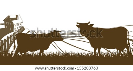 Farm rolling hills landscape with farmhouse and cows in silhouette - stock photo