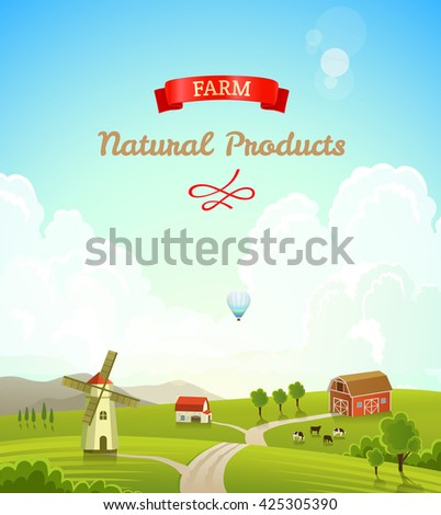 Farm rural landscape. Farm background. Rasterized Copy - stock photo