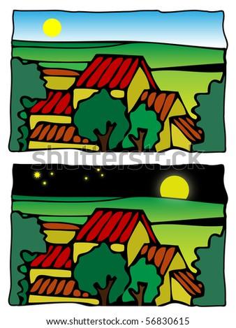 farm scene illustration - day and night - stock photo