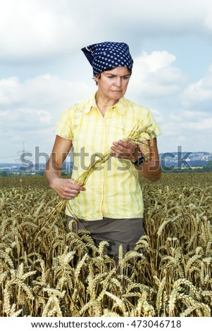 Farmer controlled her wheat field