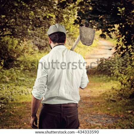 Farmer from behind of the late nineteenth century in country side. - stock photo