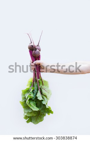 Farmer is holding vegetables. fresh radishes