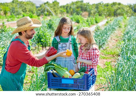 Farmer man showing vegetables harvest to kid girls in orchard - stock photo