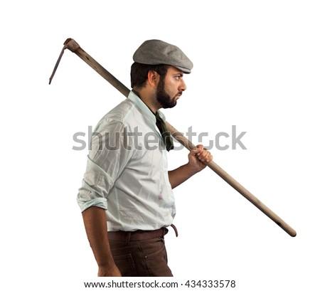 Farmer on white background - stock photo