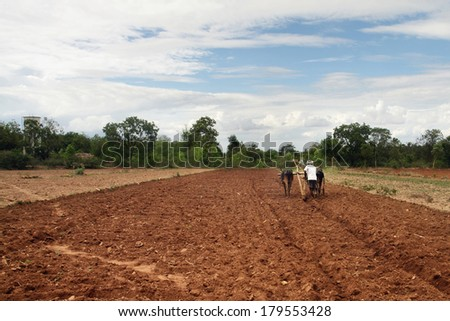 Farmer plows the fields - stock photo