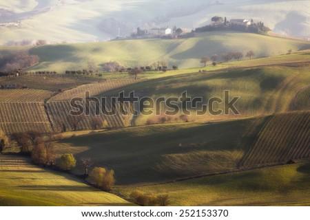 Farmer's field near the town of Montalcino - stock photo