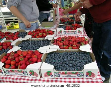 Farmer's Market Strawberries - stock photo