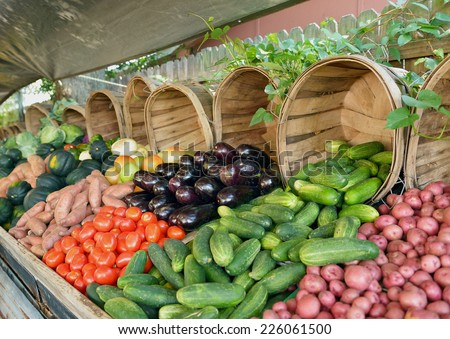 Farmer's market vegetable stand selling eggplant, tomatoes, cucumbers and potatoes. - stock photo