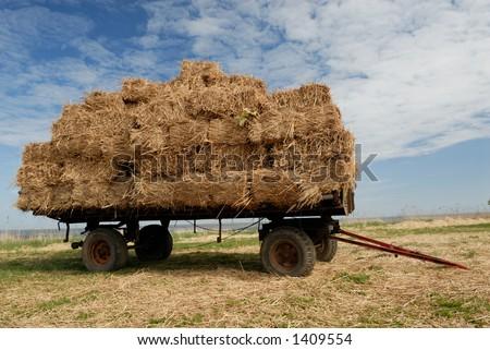 Farmer´s trailer on the meadow. - stock photo