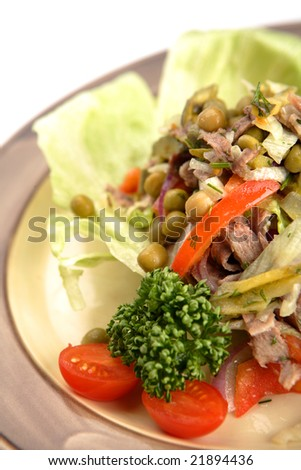 Farmer - salad from a beef tongue, fresh vegetables, gherkins with spicy refuelling