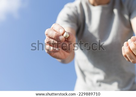farmer seeding - stock photo