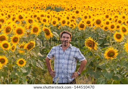 farmer standing in a sunflower field, looking at the crop - stock photo