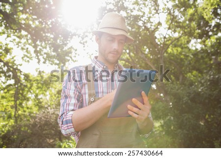Farmer using his tablet pc on a sunny day - stock photo