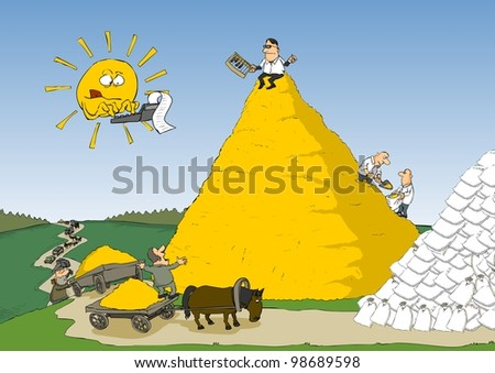 Farmers are collected together and at the expense of yield - stock photo