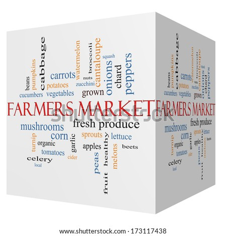 Farmers 3D cube Market Word Cloud Concept with great terms such as fresh, produce, local and more. - stock photo