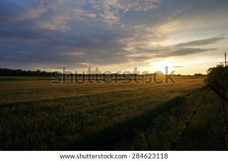 farmers field in the Canadian prairies - stock photo