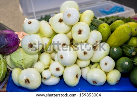 Farmers market food for sale - stock photo