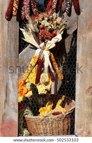Market goods display bouquet from dried flowers and indian corn
