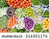 Farmers market with various domestic colorful fresh fruits and vegetable. Tasty colorful mix. - stock photo