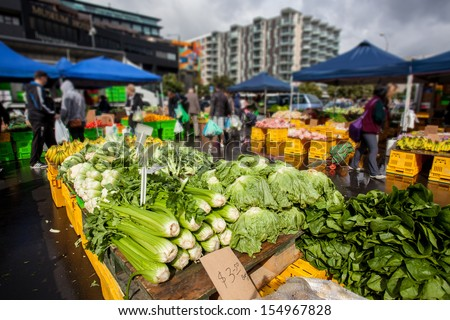 Farmers market with vegatables in Wellington, New Zealand