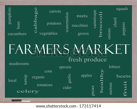 Farmers Market Word Cloud Concept on a Blackboard with great terms such as fresh, produce, local and more. - stock photo
