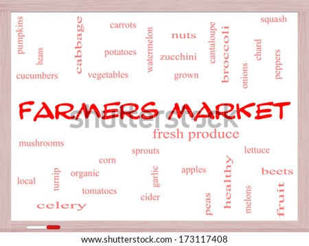 Farmers Market Word Cloud Concept on a Whiteboard with great terms such as fresh, produce, local and more. - stock photo