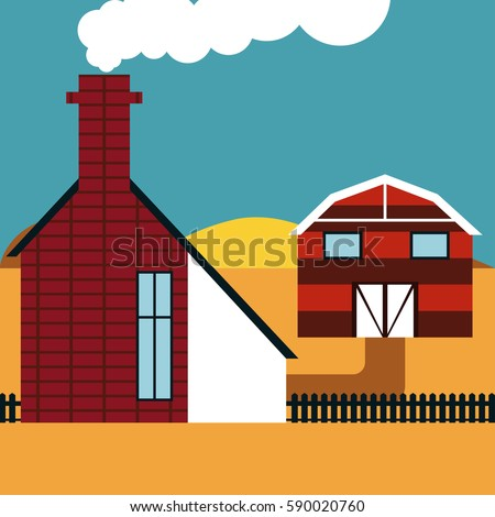 Farmhouse Striped Barn And A Brick With Chimney Illustration In Flat Design