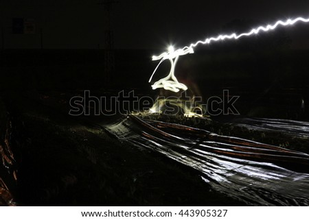 farming of asparagus at night in Mendavia (Navarre)