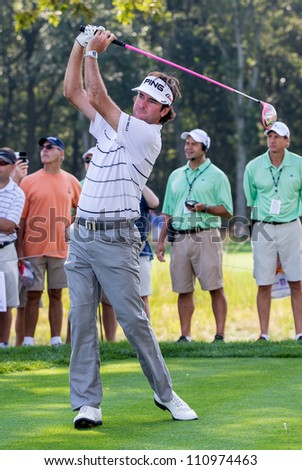 FARMINGDALE, NY - AUGUST 22: Bubba Watson hits a drive at Bethpage Black during the Barclays on August 22, 2012 in Farmingdale, NY.
