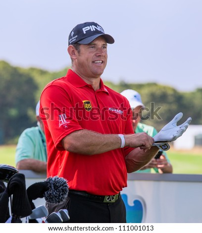 FARMINGDALE, NY - AUGUST 22: Lee Westwood at Bethpage Black during the Barclays on August 22, 2012 in Farmingdale, NY.
