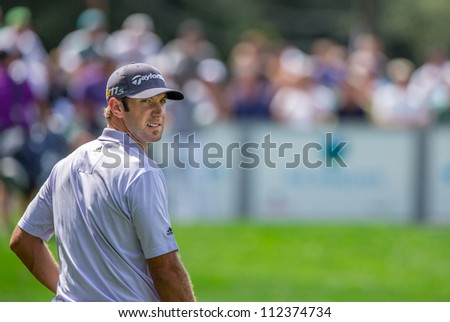 FARMINGDALE, NY - AUGUST 21: Long Hitting Dustin Johnson as he plays Bethpage Black during the Barclays on August 21, 2012 in Farmingdale, NY. - stock photo