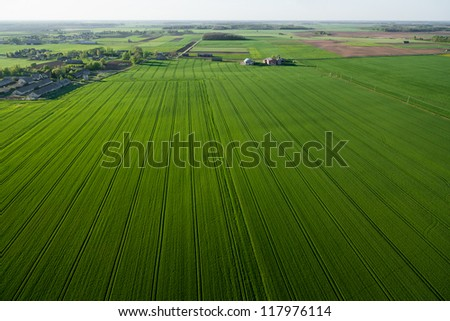 Farmland from above, Lithuania - stock photo