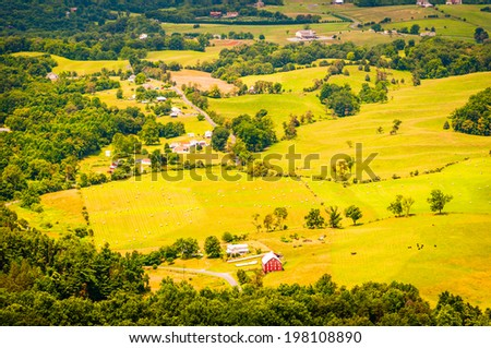 Farms in the Shenandoah Valley, seen from Skyline Drive in Shenandoah National Park, Virginia. - stock photo