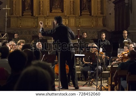 FARO, PORTUGAL: 1st SEPTEMBER, 2017 - Classic music band, Orquesta Classica do Sul, performs on Festival F, a big festival on the city of Faro, Portugal.