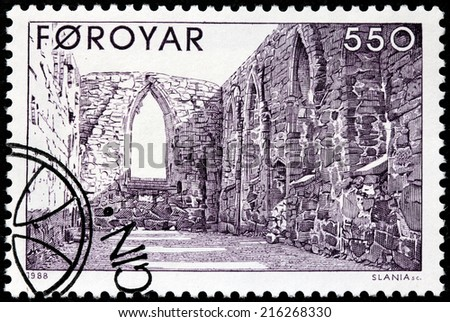FAROE ISLANDS - CIRCA 1988: A stamp printed by FAROE ISLANDS shows interior of the ruins of the Magnus Cathedral in Kirkjubour, circa 1988. - stock photo