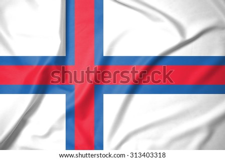 Faroe Islands flag on soft and smooth silk texture