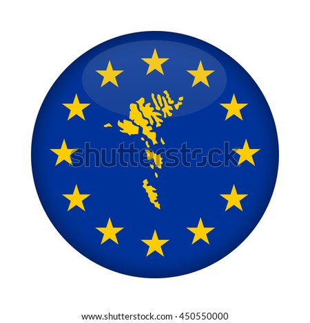 Faroe Islands map on a European Union flag button isolated on a white background. - stock photo