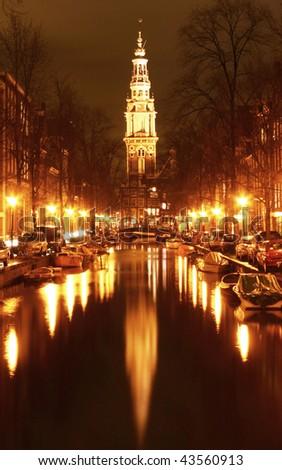 fascination night in amsterdam - stock photo