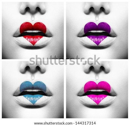 Fashion Abstract Collage of Beauty Sexy Lips with Colorful Heart Shape paint. Love Concept. Kiss - stock photo