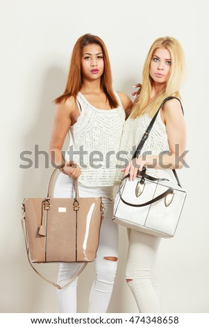 Fashion Concept Two Women Mulatto Blonde Stock Photo ...