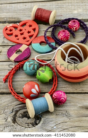 Fashion accessories for needlework beads,straps and jewelry - stock photo