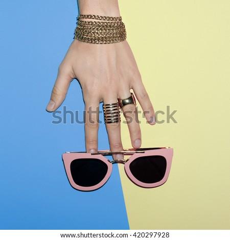 Fashion Accessories. Pink Stylish Sunglasses and Jewelry. Be Vanilla Ladies - stock photo