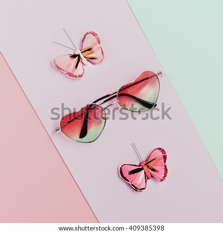 Fashion accessories sunglasses Pink hearts. Romantic summer style - stock photo