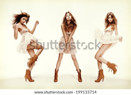 fashion and glamour concept - triple image of the same fashion model in different poses