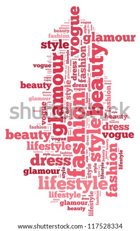 Fashion and style info-text graphics and arrangement concept on white background (word cloud)