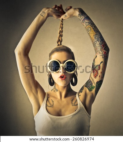 Fashion and tattoos  - stock photo