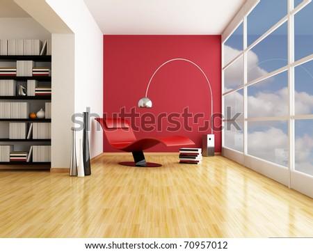 fashion armchair near a big window in a minimalist living room - rendering - stock photo