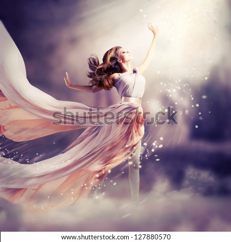 Fashion Art Beauty Portrait. Beautiful Girl, Model Woman wearing Long Chiffon dress. Magic. Miracle. Fantasy Scene - stock photo